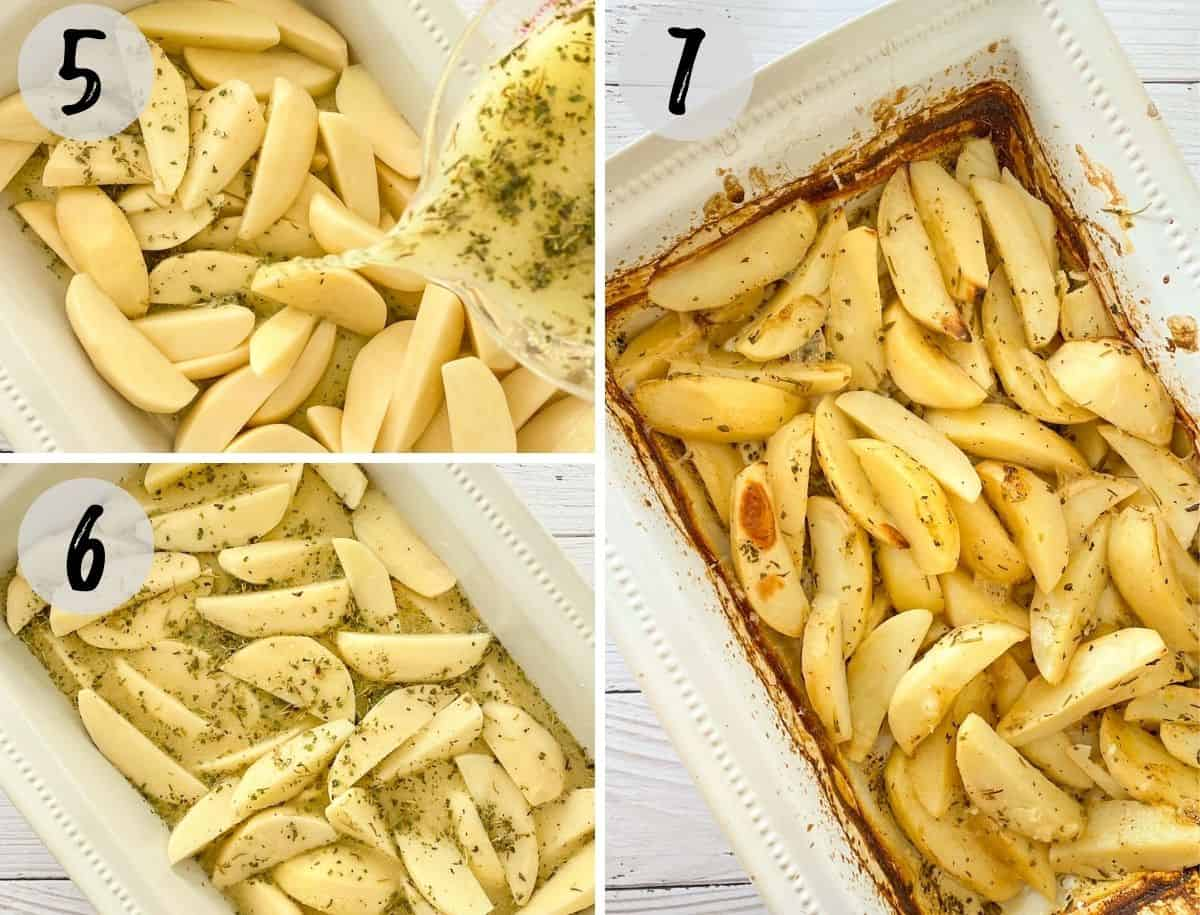 Potato wedges in baking dish before and after baking.