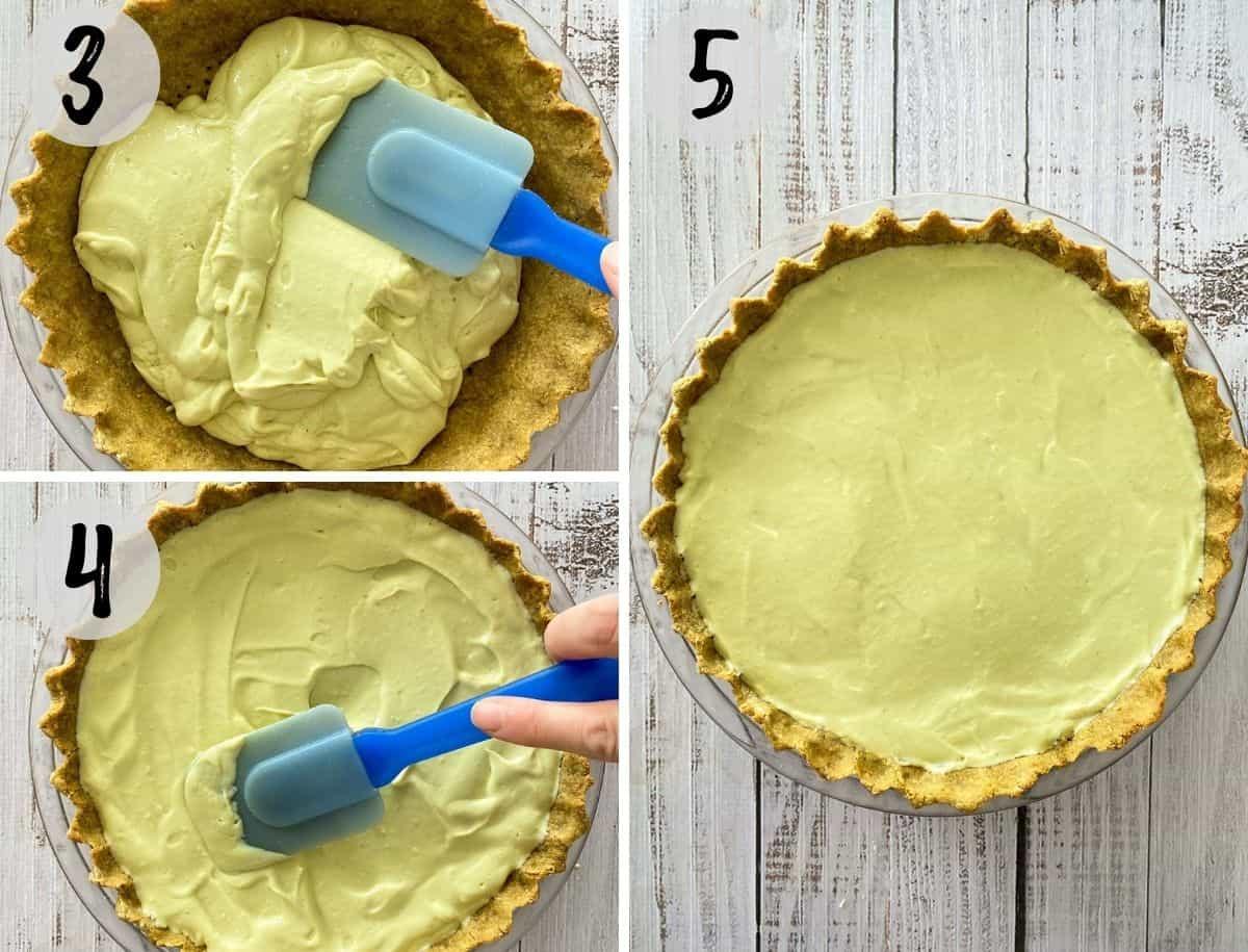 Spatula spreading pie filling into pie crust.