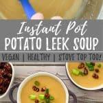 Vegan potato leek soup PIN with text overlay.