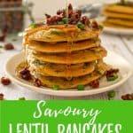Savoury vegan pancakes pin with text overlay.