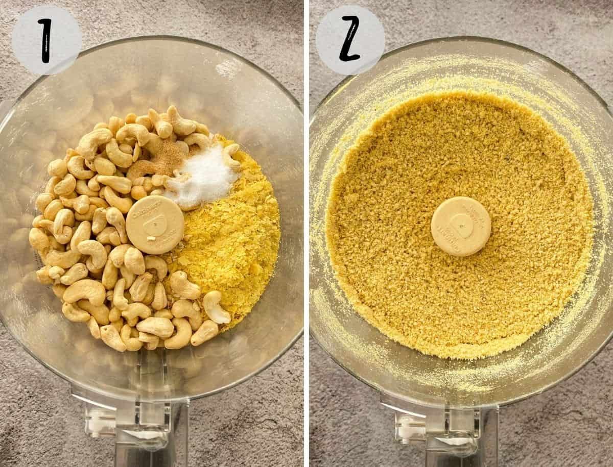 Cashews and seasoning in food processor being processed into powder.