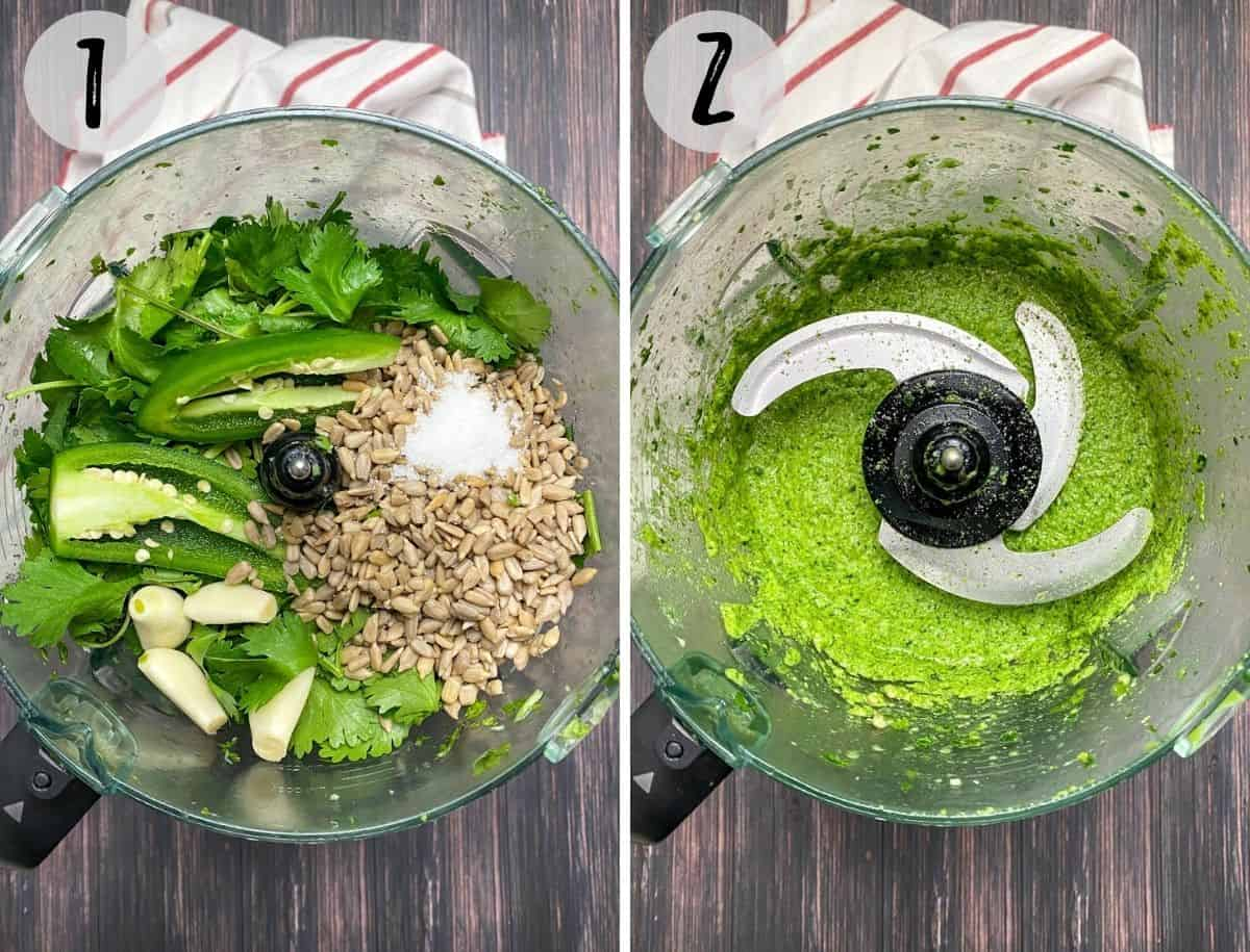 Food processor with sunflower seeds, cilantro, jalapeno, garlic, salt and lime inside, to process into pesto.