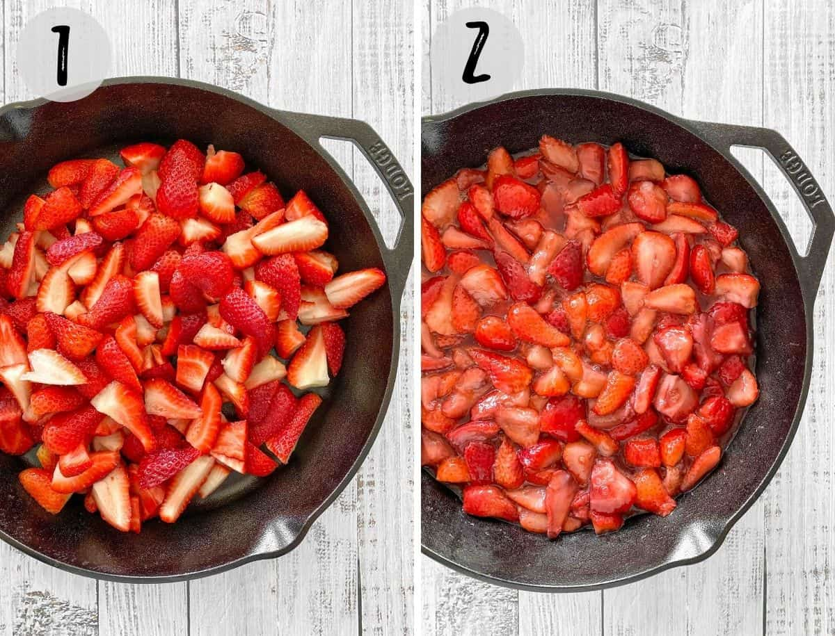 Cast iron pan with quartered strawberries before and after cooking.