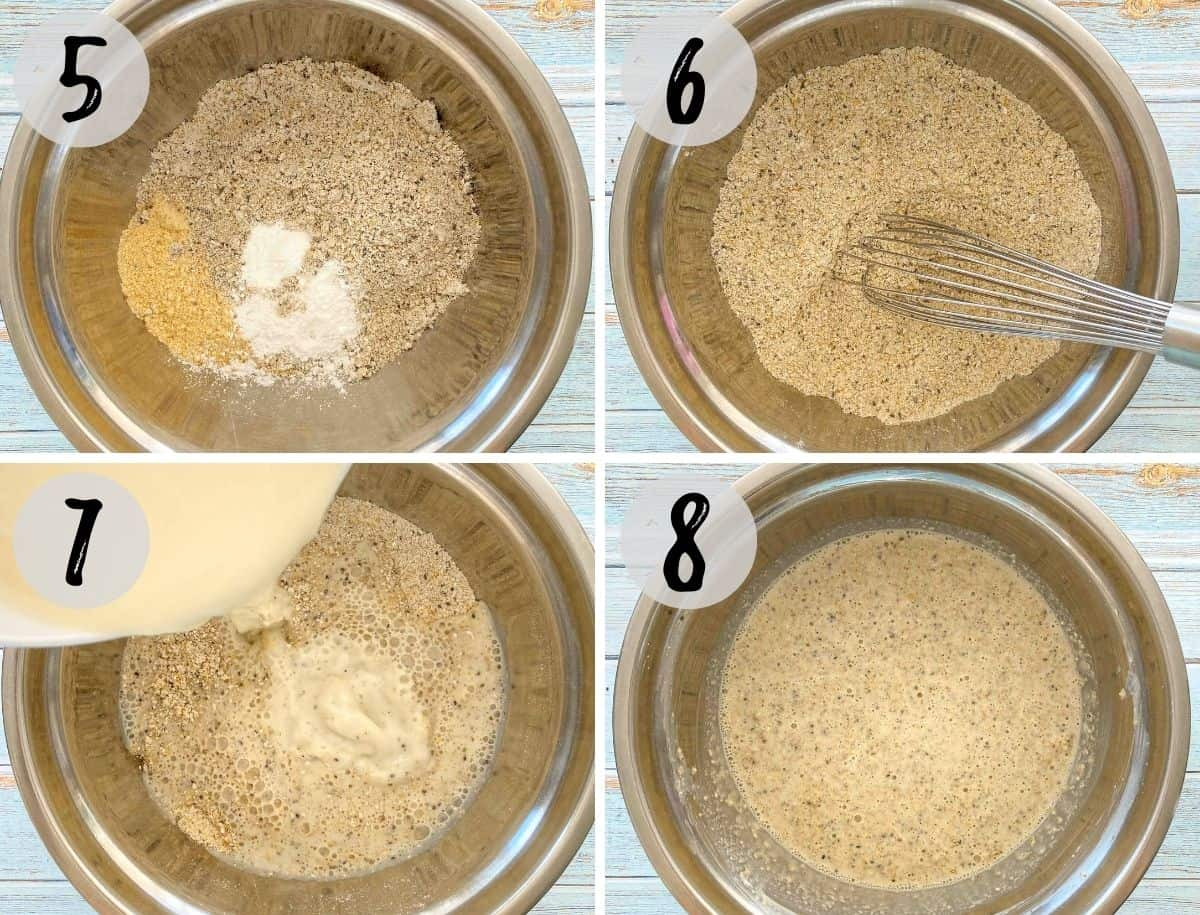 Mixing bowl with dry ingredients whisked together and milk bring poured on top and then mixed.