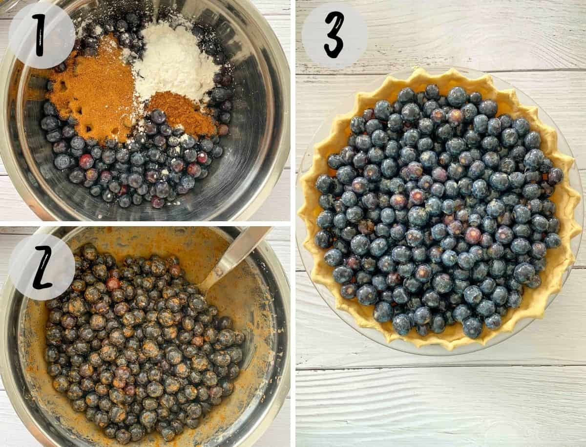 Mixing bowl with blueberries, sugar, corn starch and cinnamon being mixed and poured into pie crust.