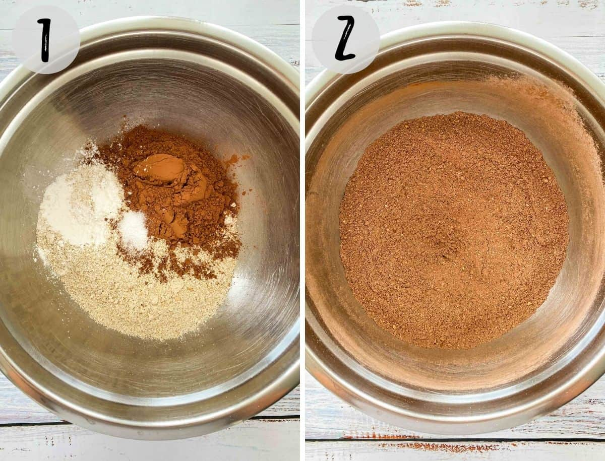 Large mixing bowl with flour, cocoa powder, baking powder and salt whisked together.