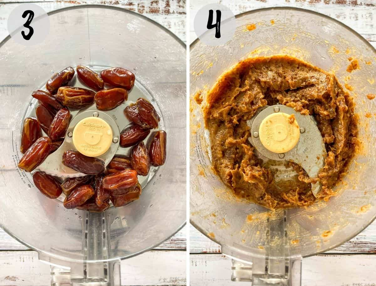 Dates in food processor before and after pureeing.