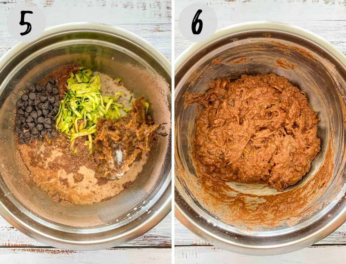 Large mixing bowl with chocolate chips, zucchini shreds, date paste, milk and flour being mixed into cake batter.