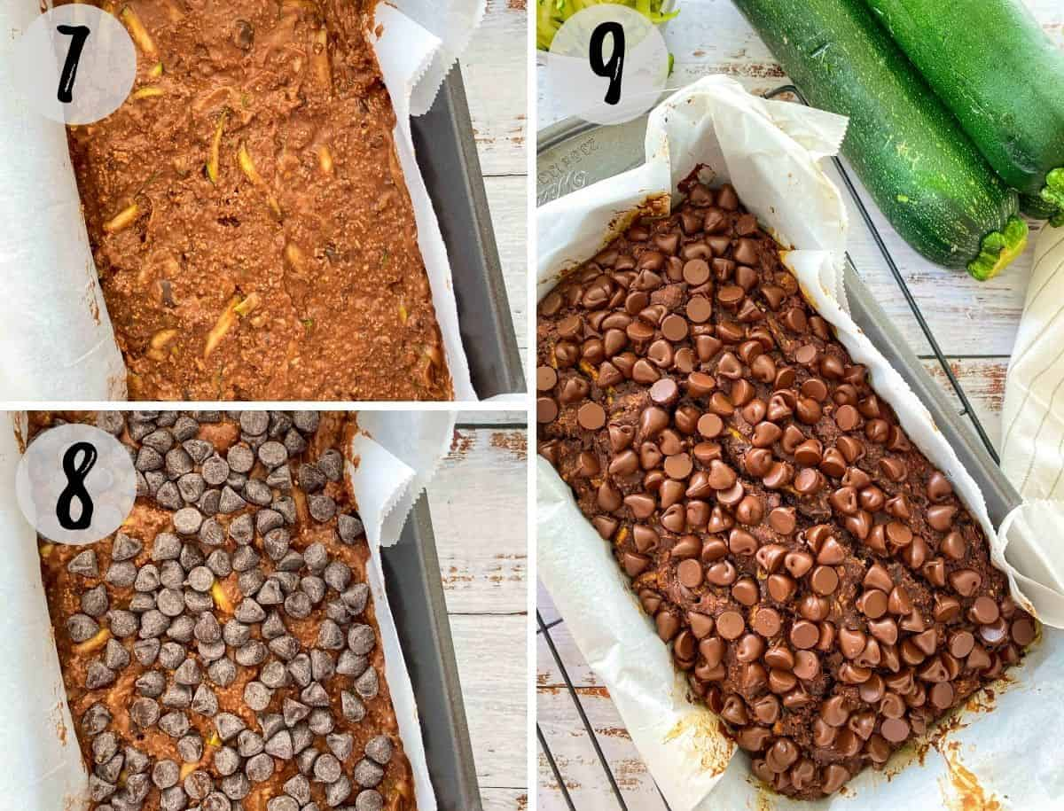 Chocolate zucchini bread with chocolate chips on top before and after baking.