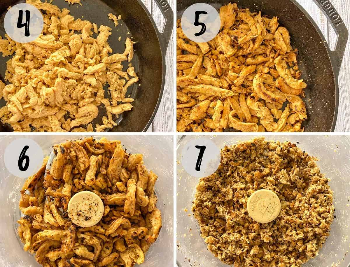 Image collage showing soy curls frying in pan and then being processed in food processor.