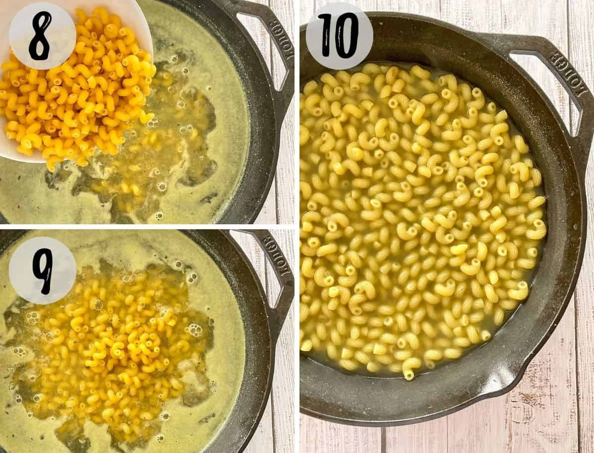 Image collage of pouring raw pasta into boiling broth and then pasta cooking in cast iron pan.