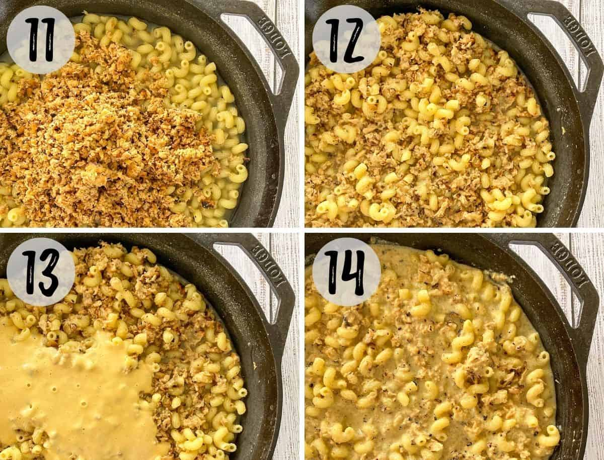Image collage of cooked pasta with ground soy curls and cheese sauce pouring on top and then mixed together.