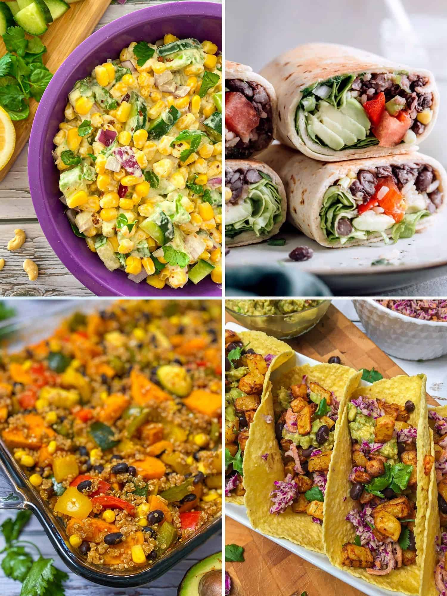 Collage of Mexican dishes: elote salad, burritos, enchilada casserole and tacos.