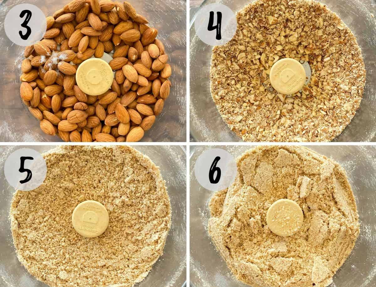 Collage of images with almonds in food processor being broken down from almonds to flour.