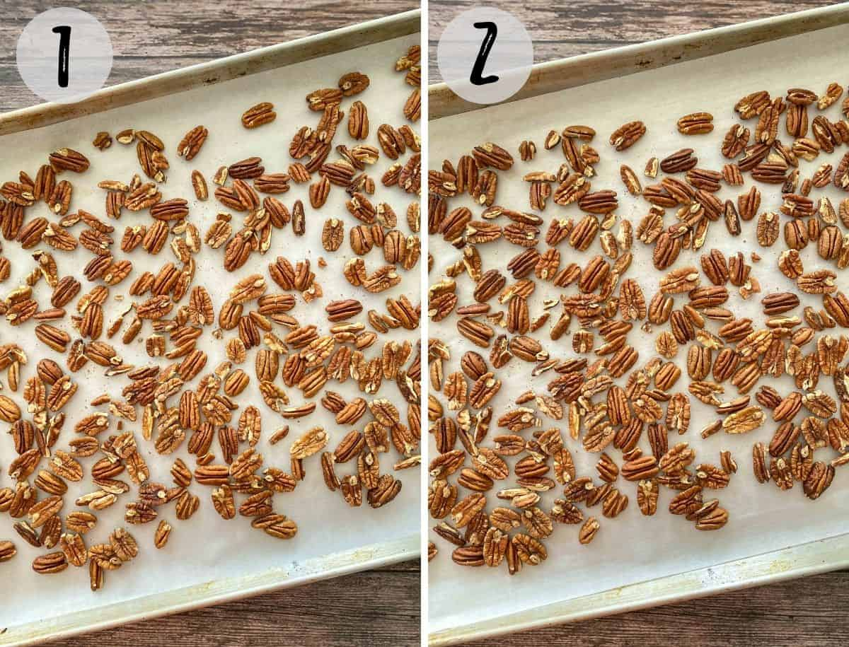Pecan halves on baking tray lined with parchment paper before and after baking.