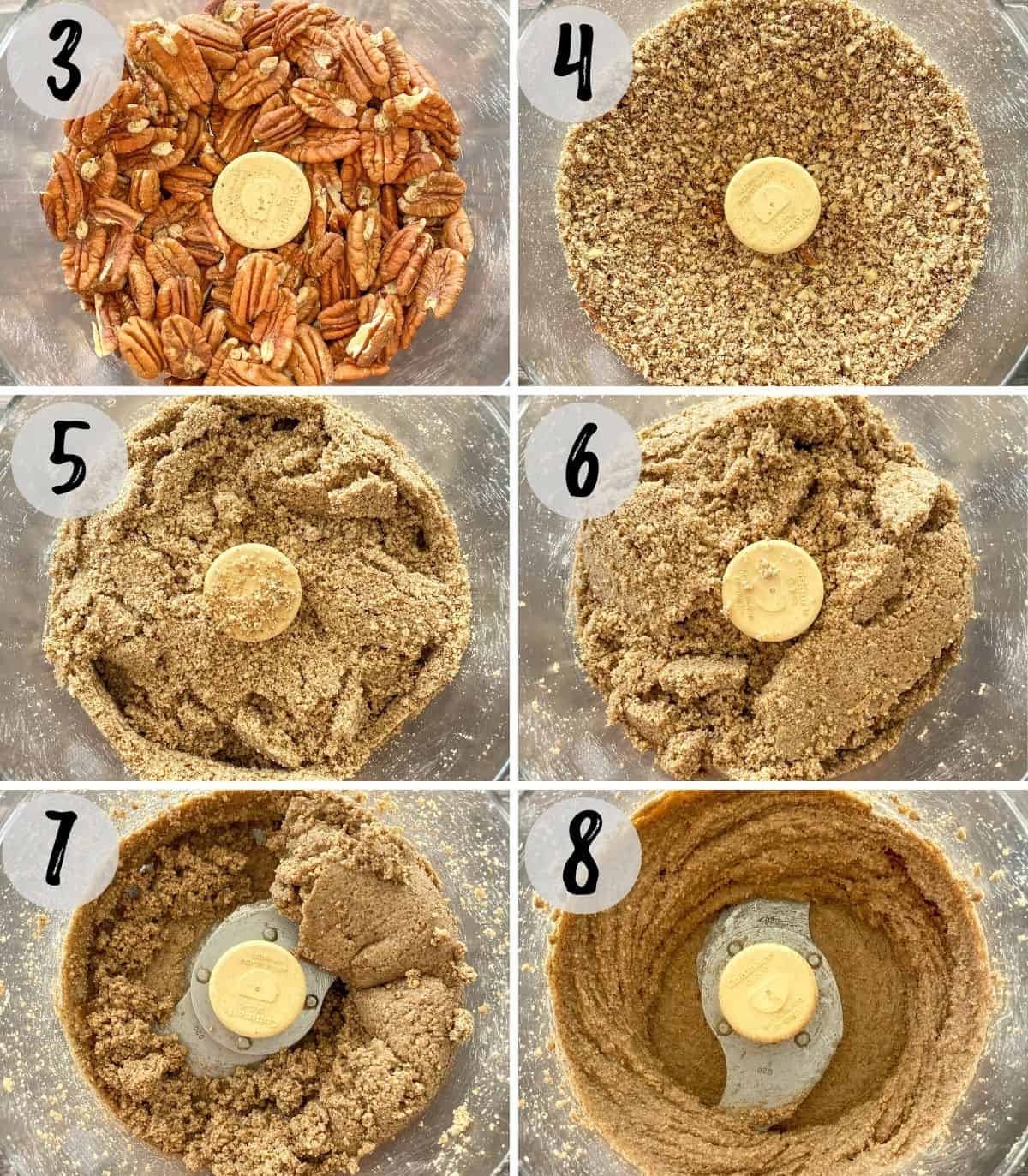 Image collage of pecans in food processor being processed into nut butter.