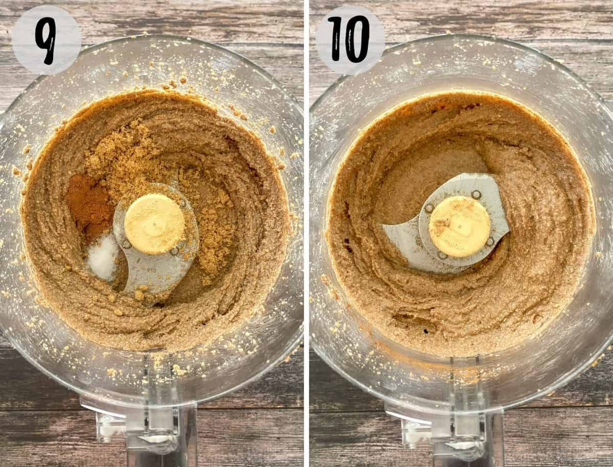 Pecan butter in food processor with brown sugar and cinnamon being added.