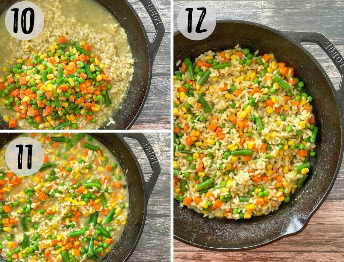 Mixed frozen veggies added to pan of rice and then mixed together.