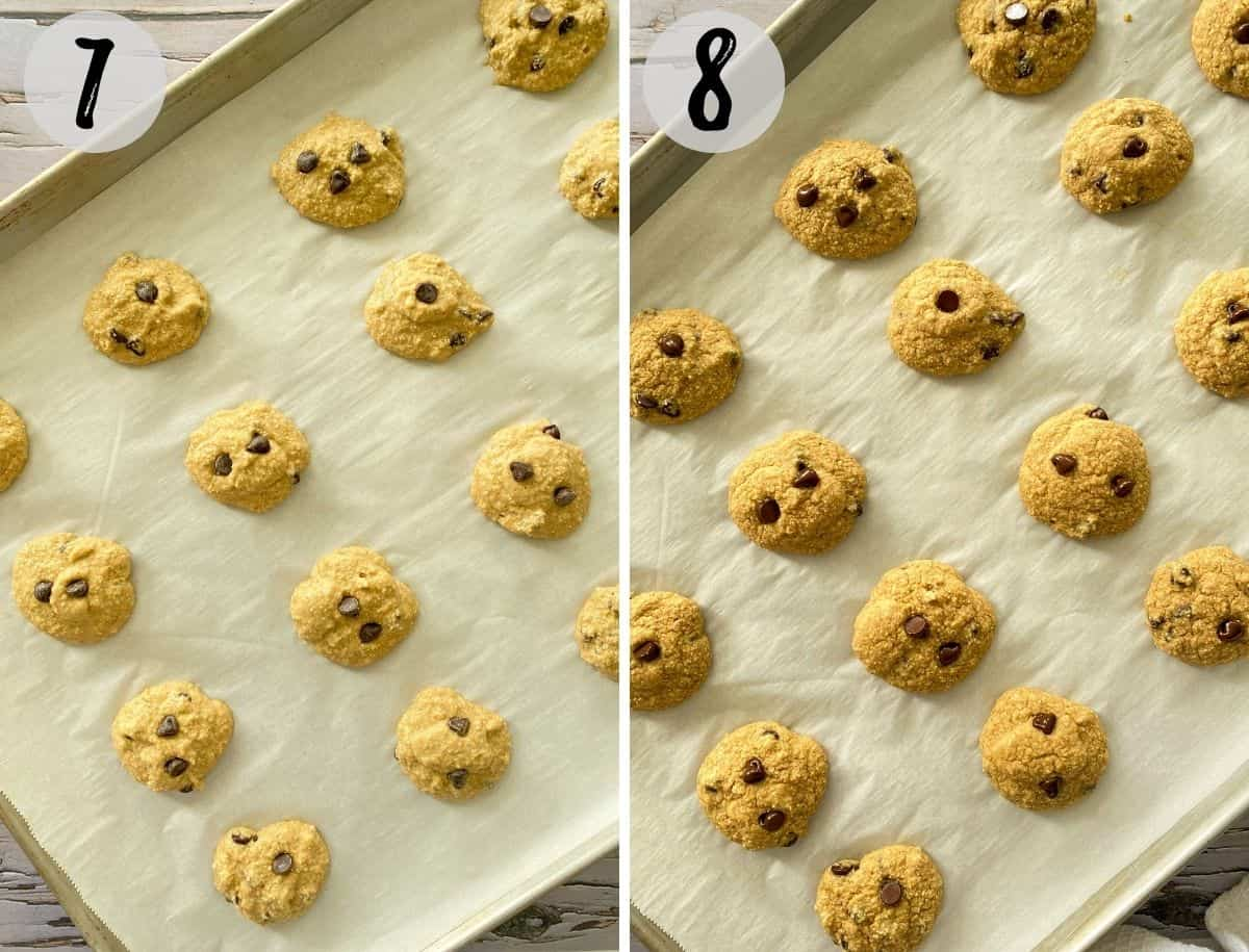Cookies on baking tray before and after baking.