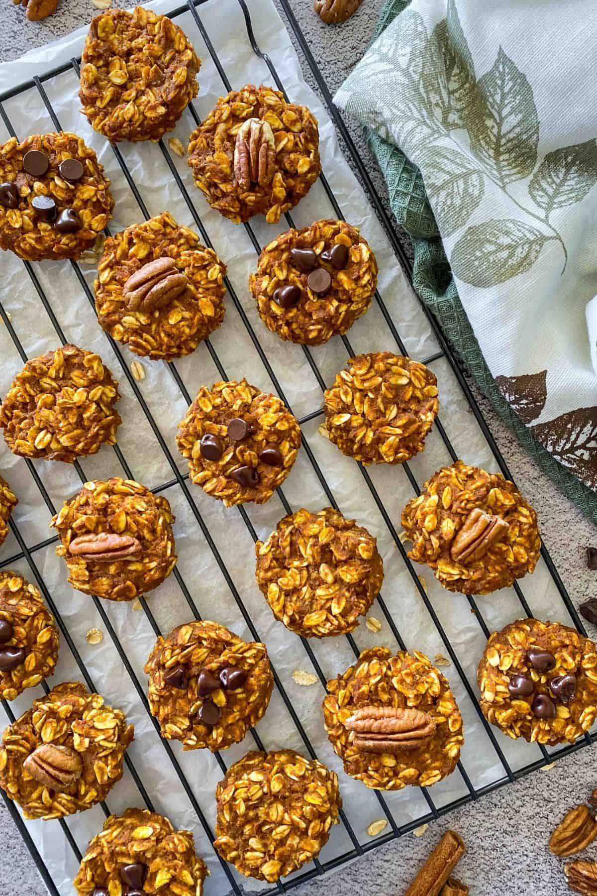 Pumpkin oatmeal cookies with chocolate chips and pecan halves on cooling rack.