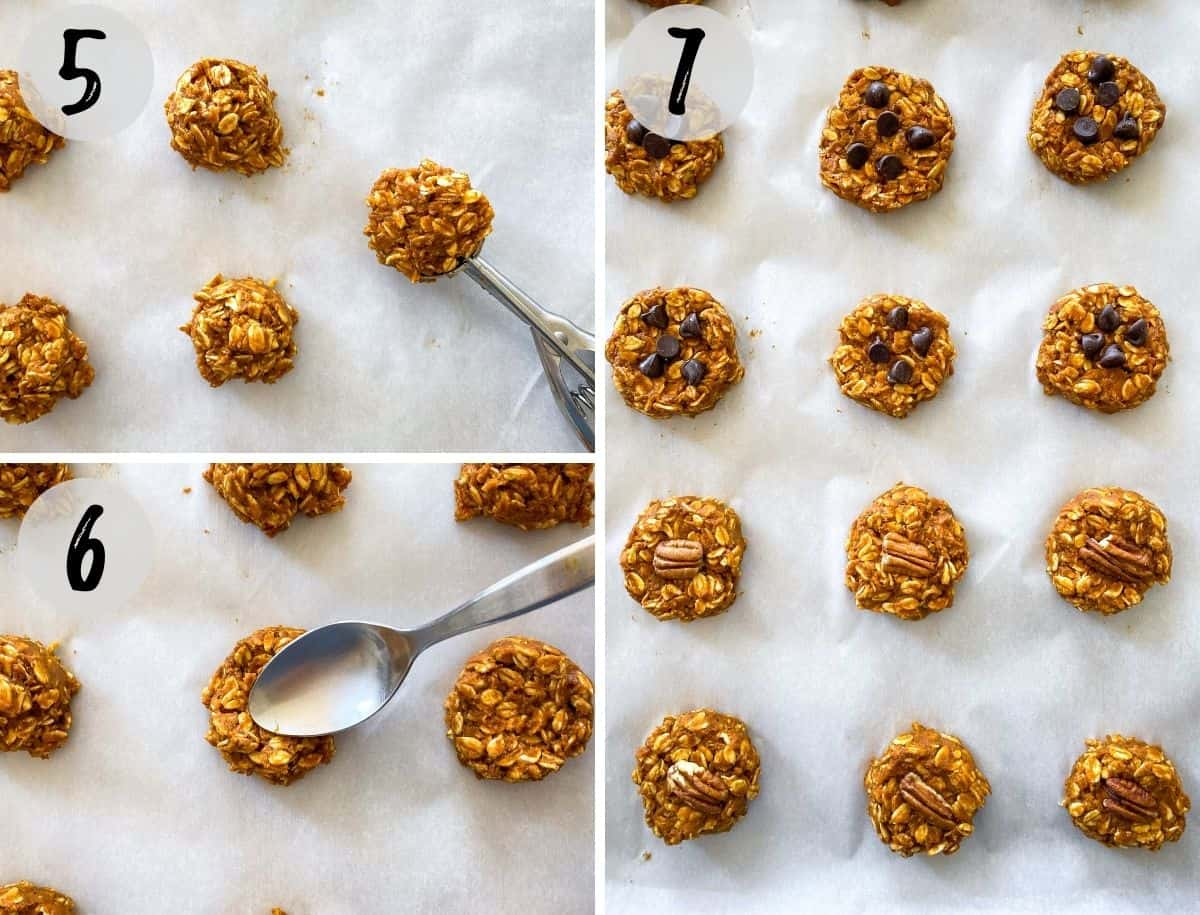 Oatmeal cookies being scooped onto baking sheet and then pressed down with spoon.