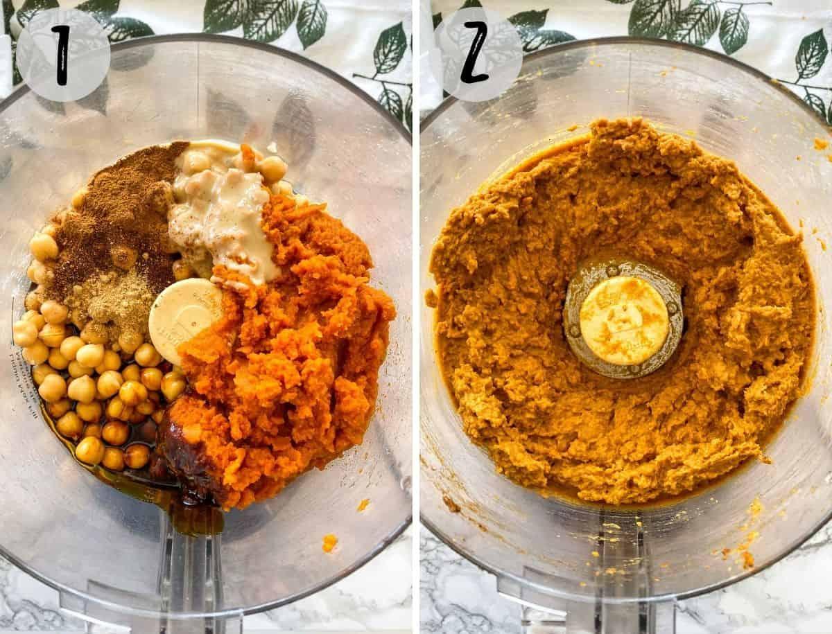 Pumpkin pie dip in food processor, before and after blending.