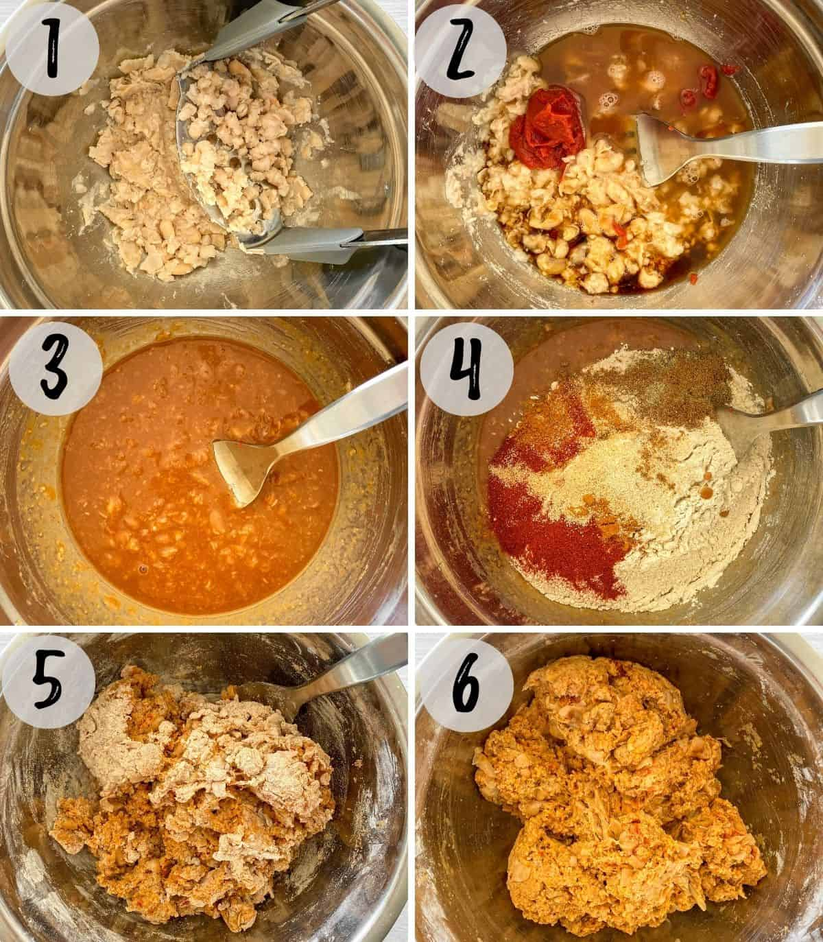 Image collage of beans being mashed, then liquids and dry ingredients added and mixed into a ball of dough.