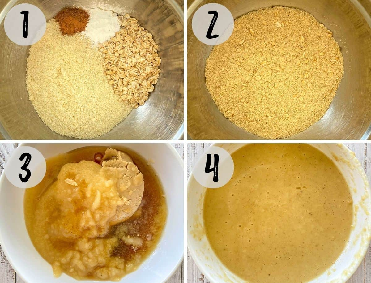 Mixing bowl with dry ingredients mixed together and then wet ingredients mixed together in another bowl.