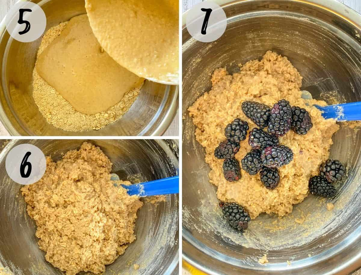 Mixing bowl with muffin batter and blackberries added on top.