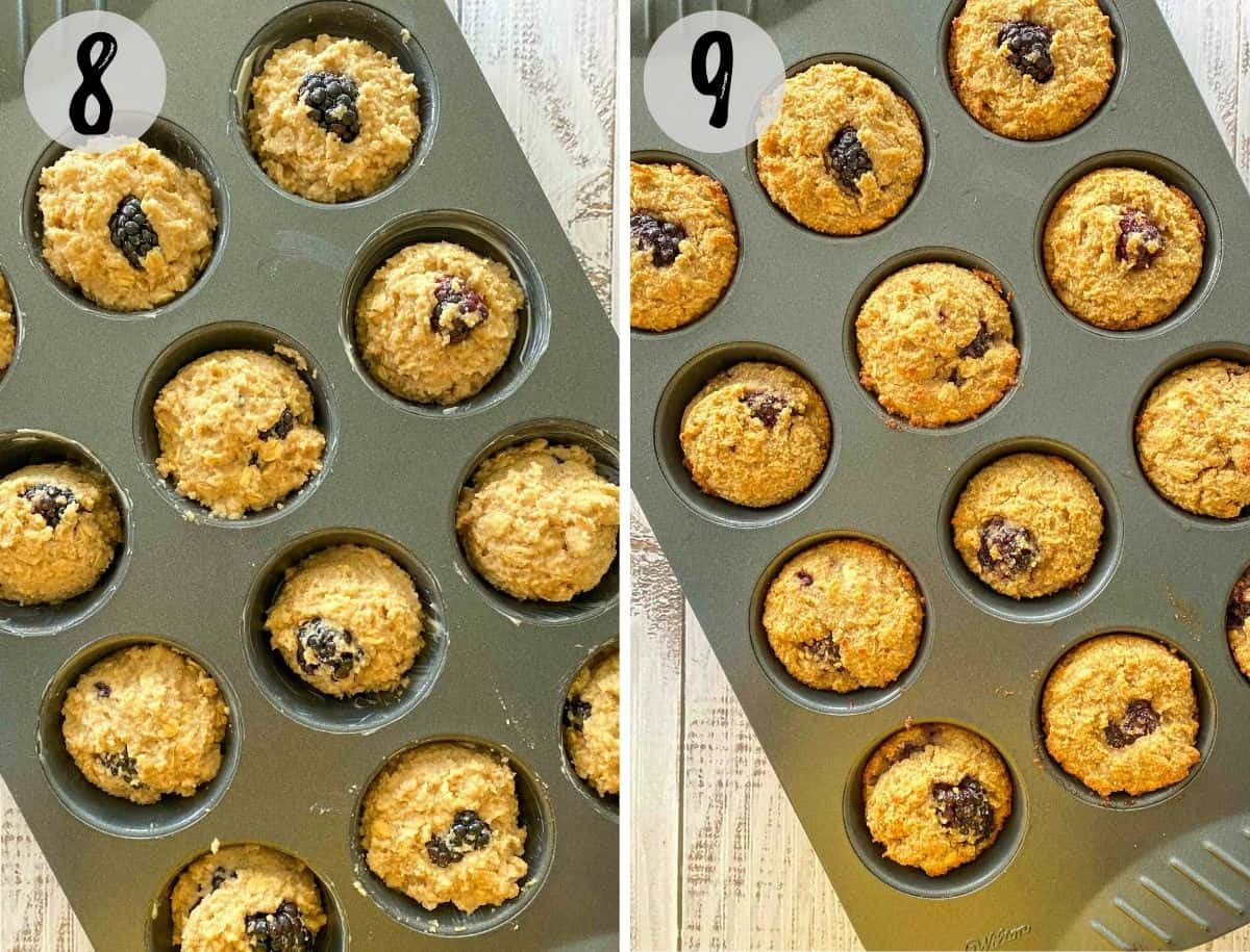Blackberry muffins in muffin pan before and after baking.