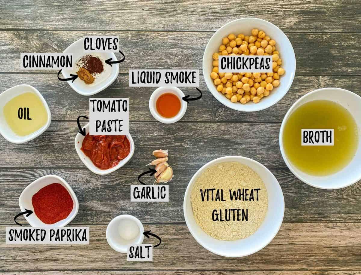 Ingredients to make vegan ham in prep bowls scattered across brown deck.