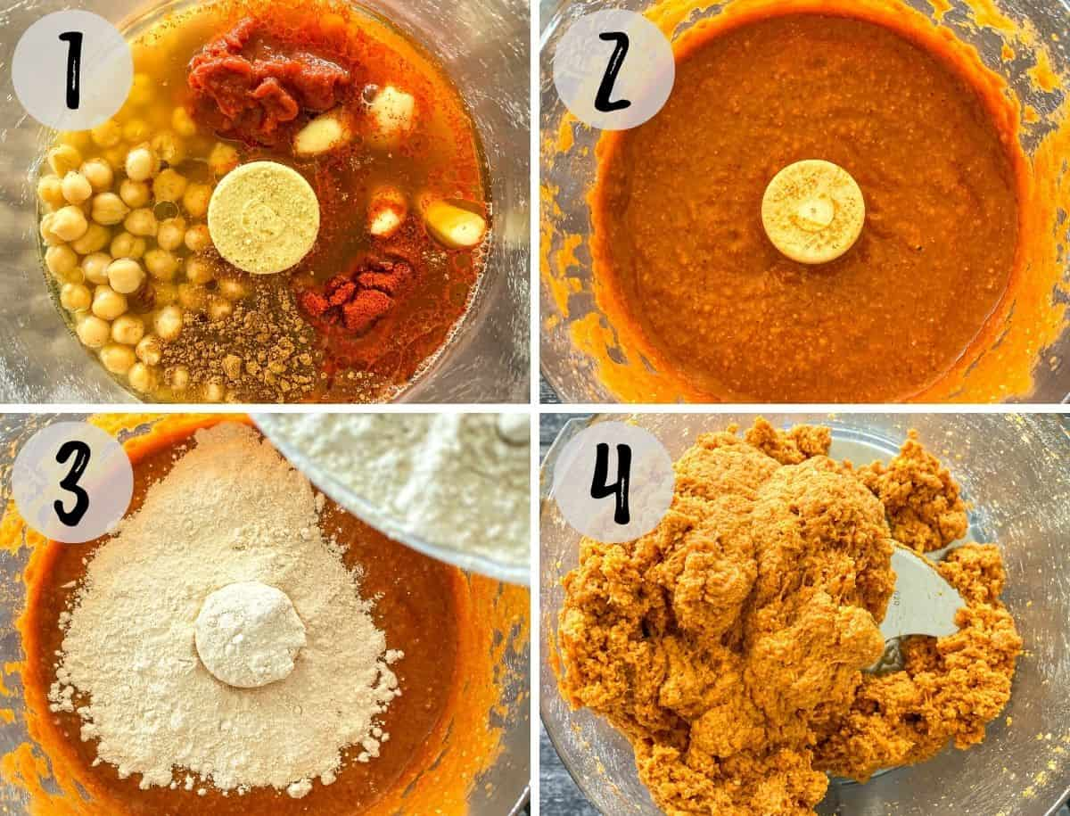Image collage of food processor with chickpea, tomato paste and seasoning being blended, and then flour added.