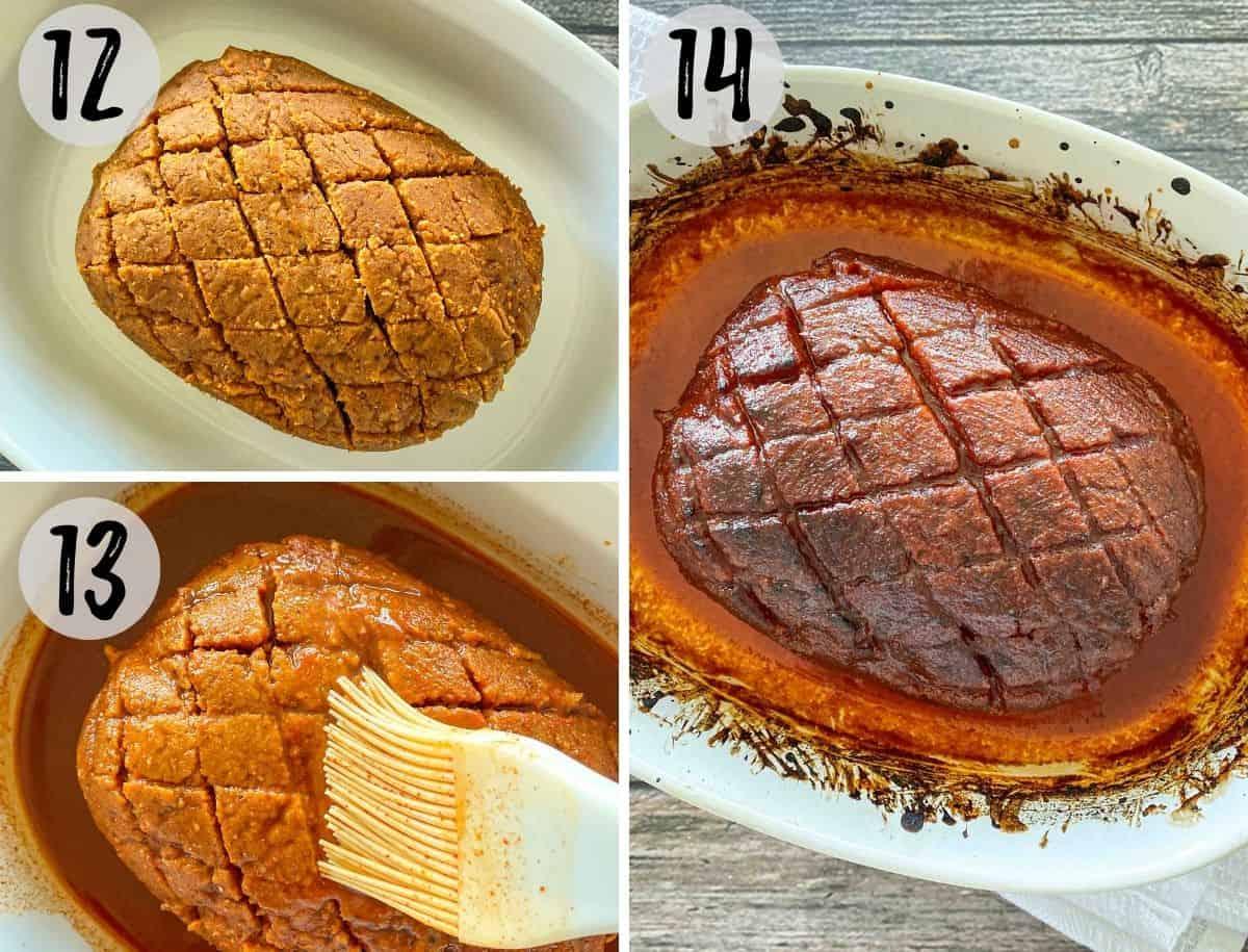 Silicone brush glazing vegan ham with maple smoked glaze.