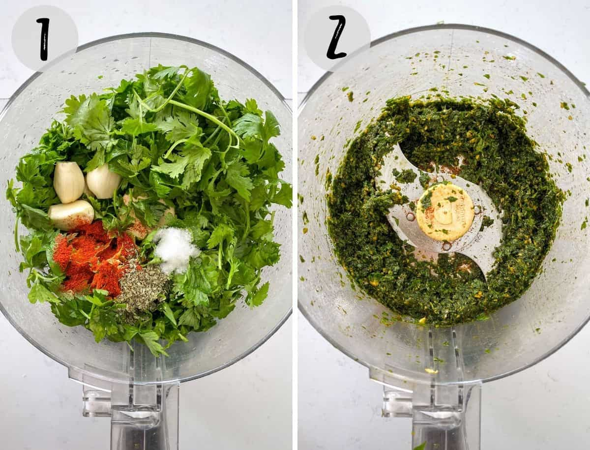 Food processor with herbs, garlic and spices being finely chopped.