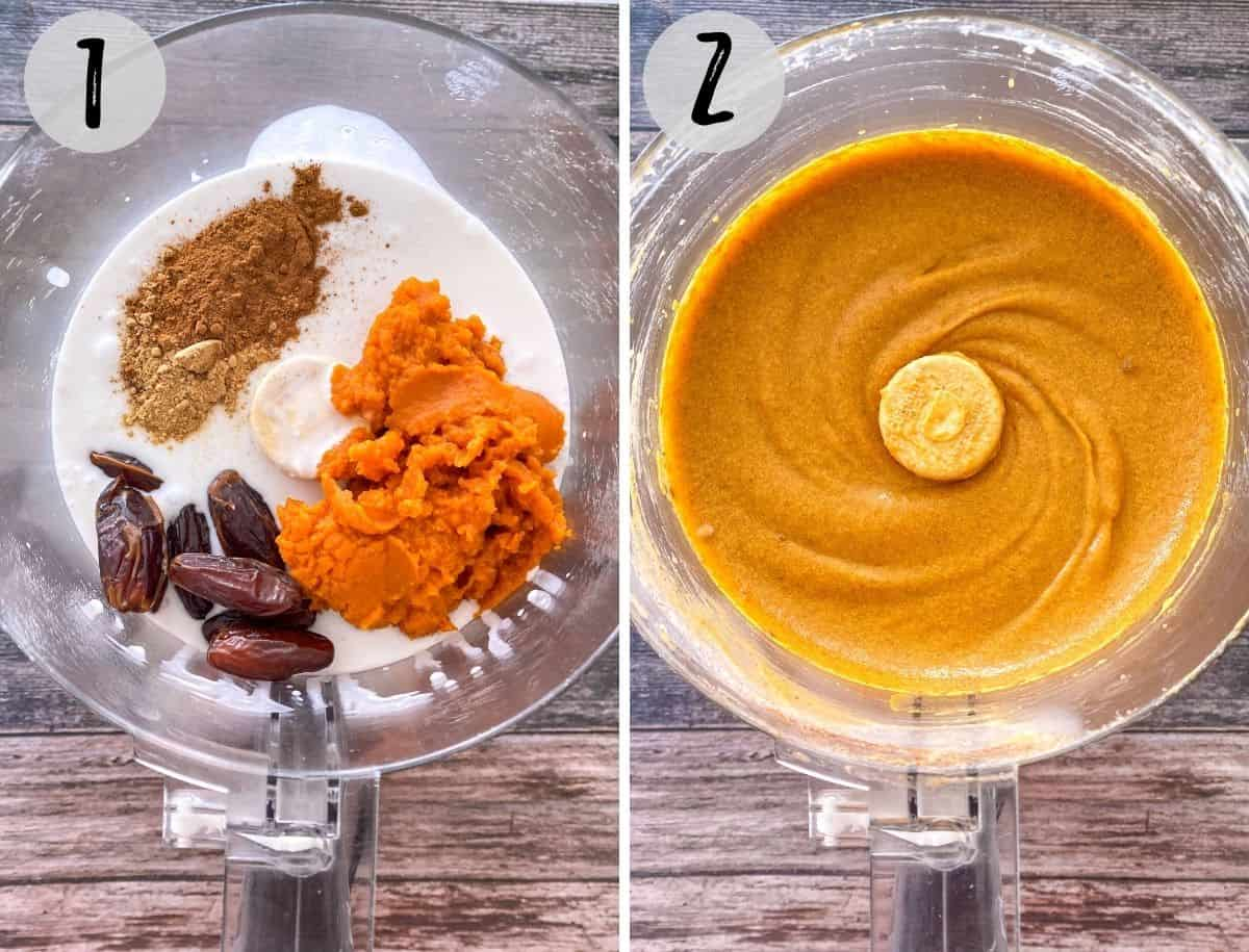 Milk, pumpkin puree, dates and spices in food processor, being blended into nice cream.