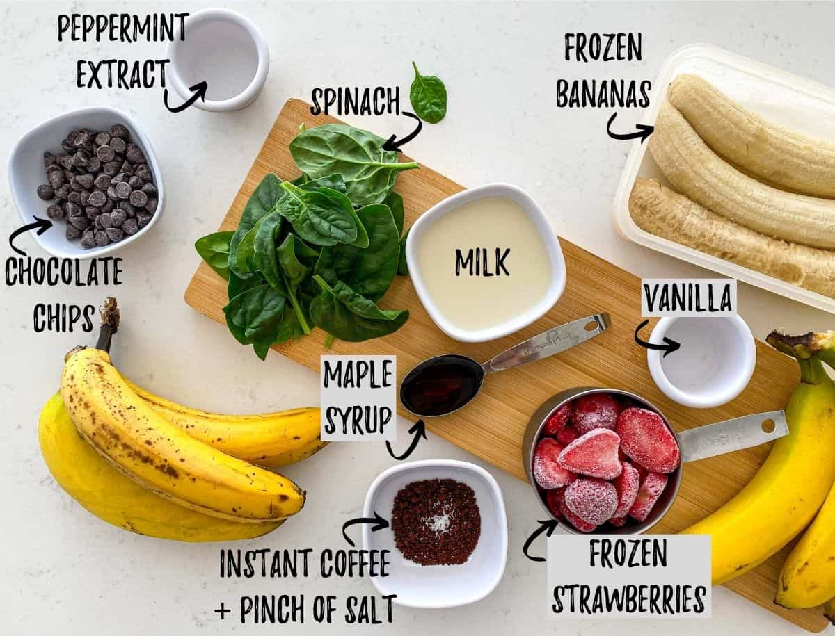 Ingredients needed to make vegan ice cream scattered on cutting board and counter.