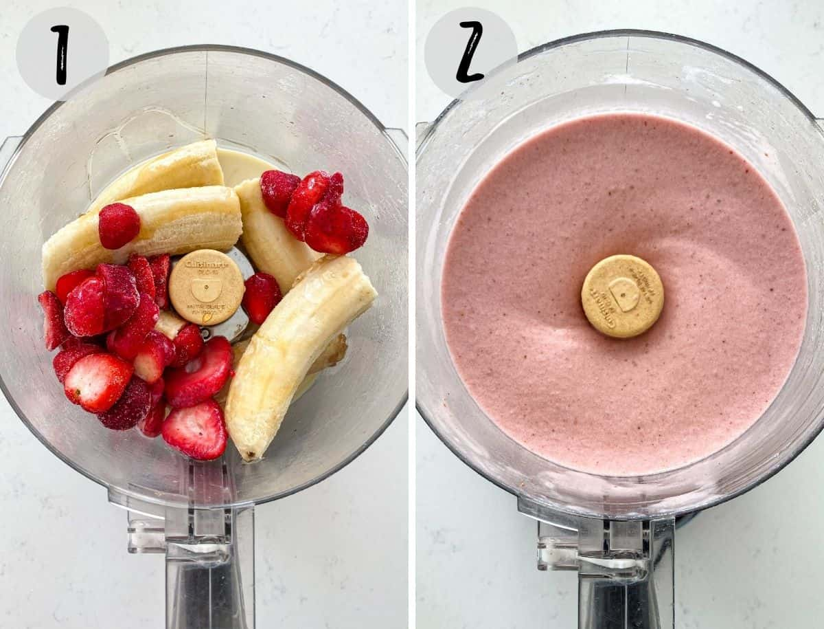 Banana and strawberries in food processor being blended.