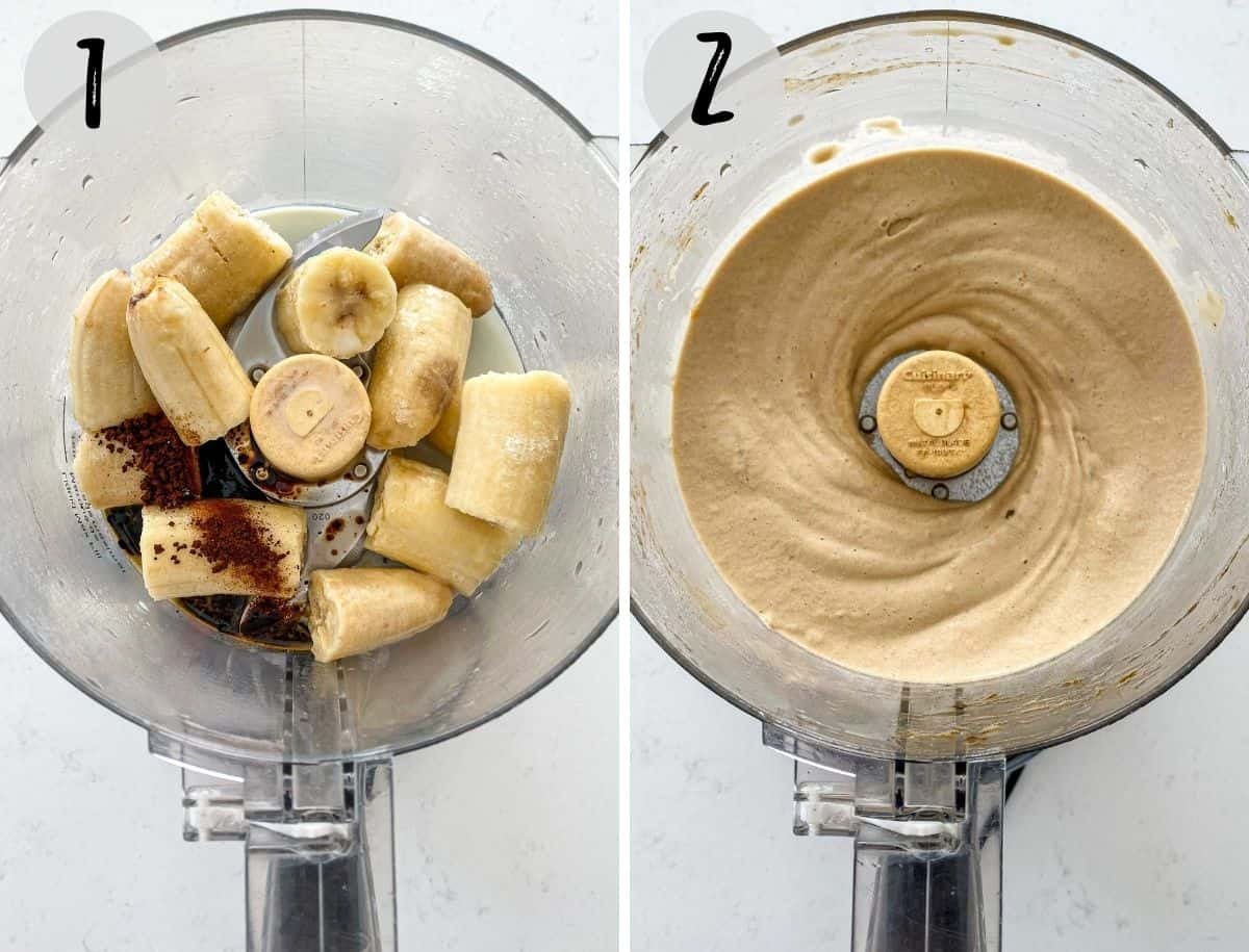 Food processor with bananas, coffee and milk being blended up.