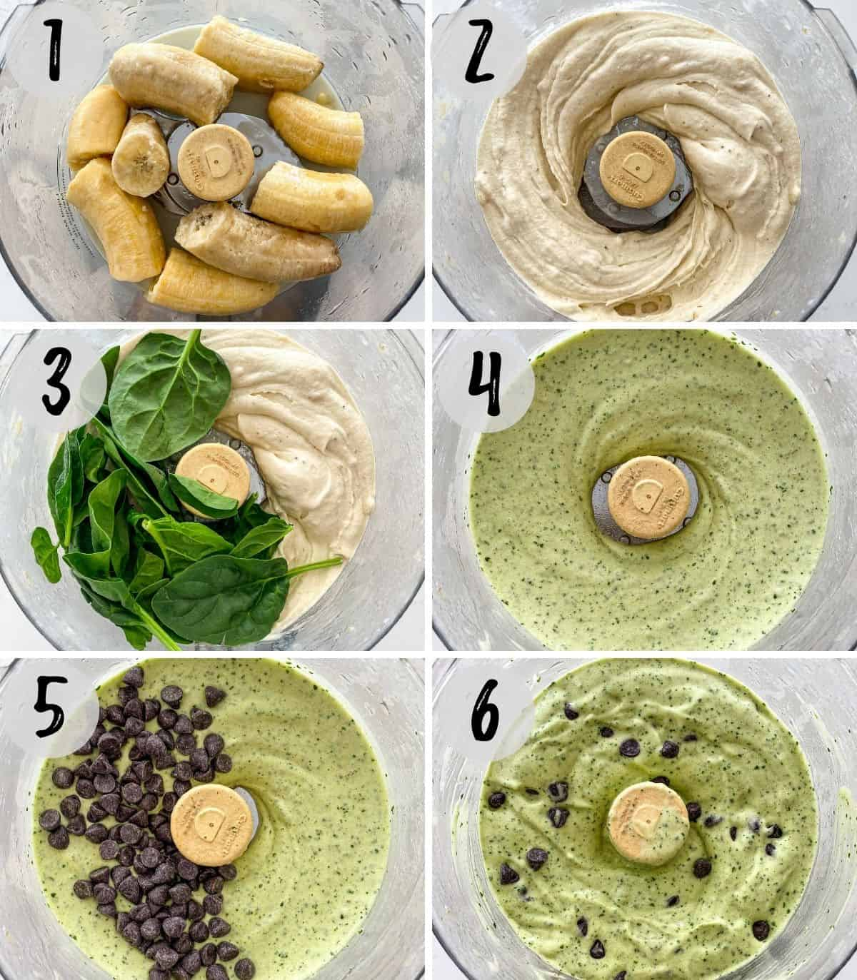 Collage of images of bananas and flavorings being blended in food processor to make mint chip nice cream.