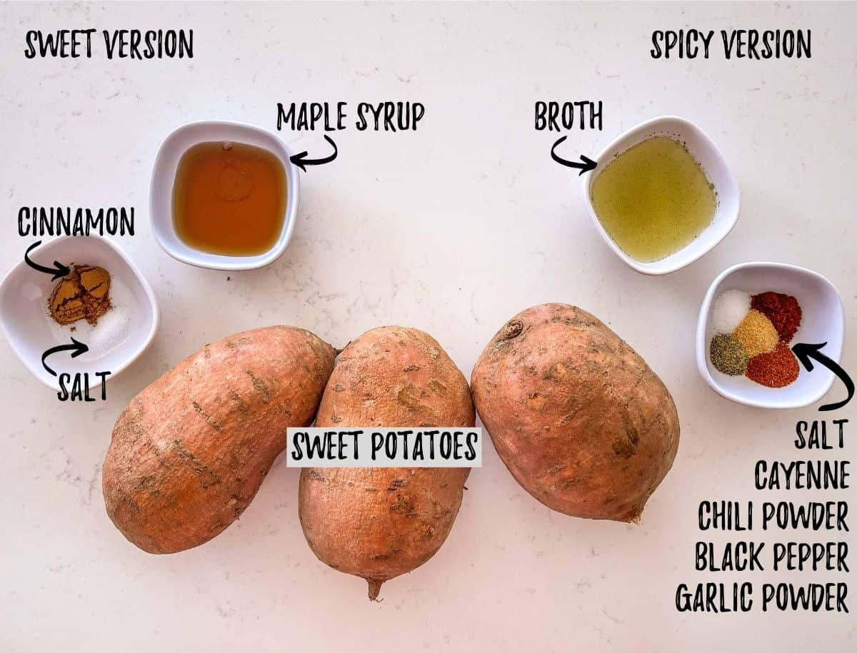 Three large sweet potatoes and bowls of seasoning on kitchen counter top.