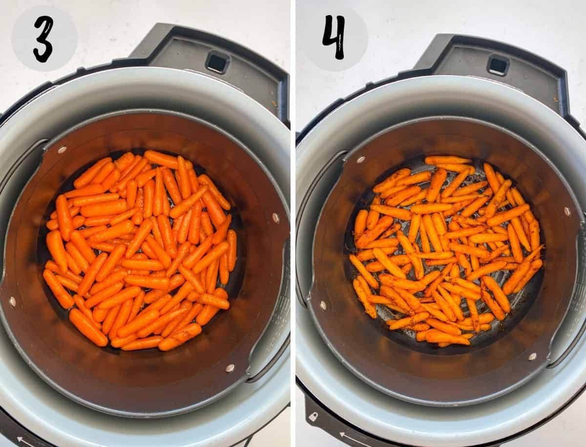 Baby carrots in air fryer basket, before and after cooking.