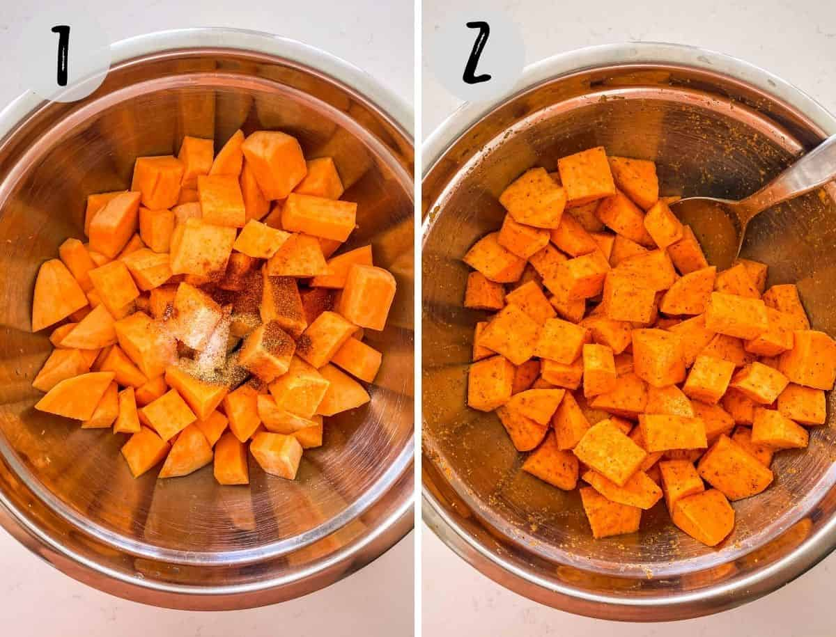 Cubed sweet potatoes in mixing bowl with seasoning on top.