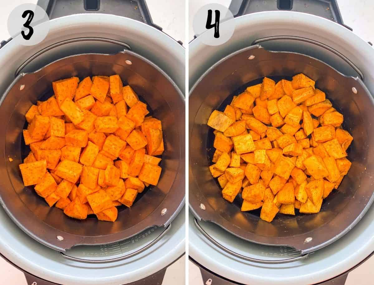 Sweet potato cubes in air fryer basket before and after cooking.