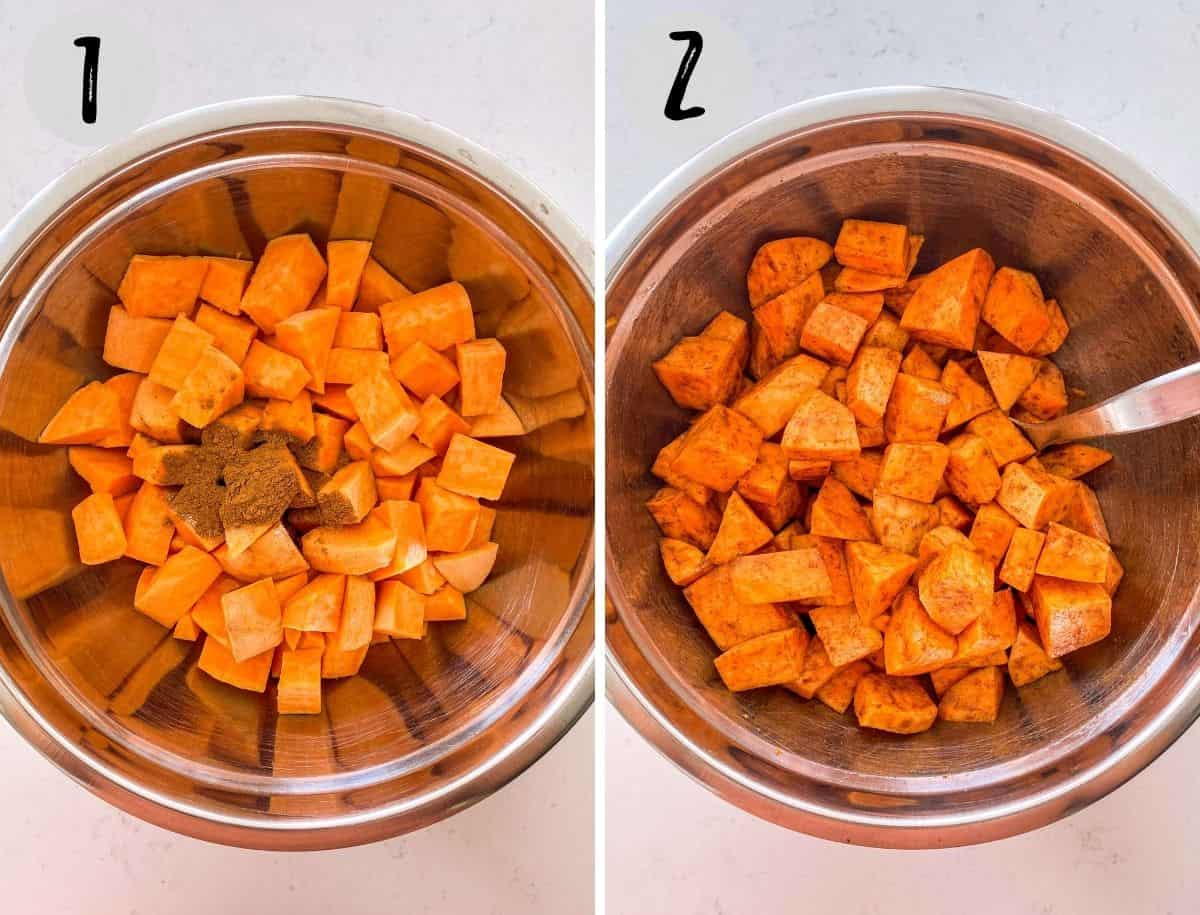 Large bowl filled with cubed sweet potato before and after seasoning.