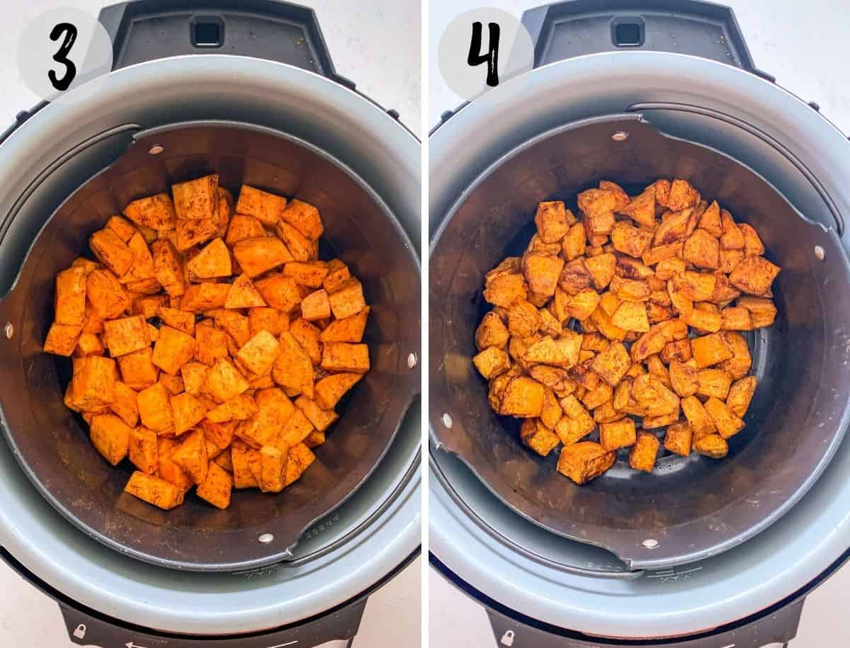 Sweet potato cubes in air fryer, before and after cooking.