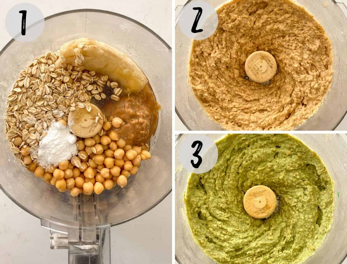 Food processor with cookie ingredients before and after processing.