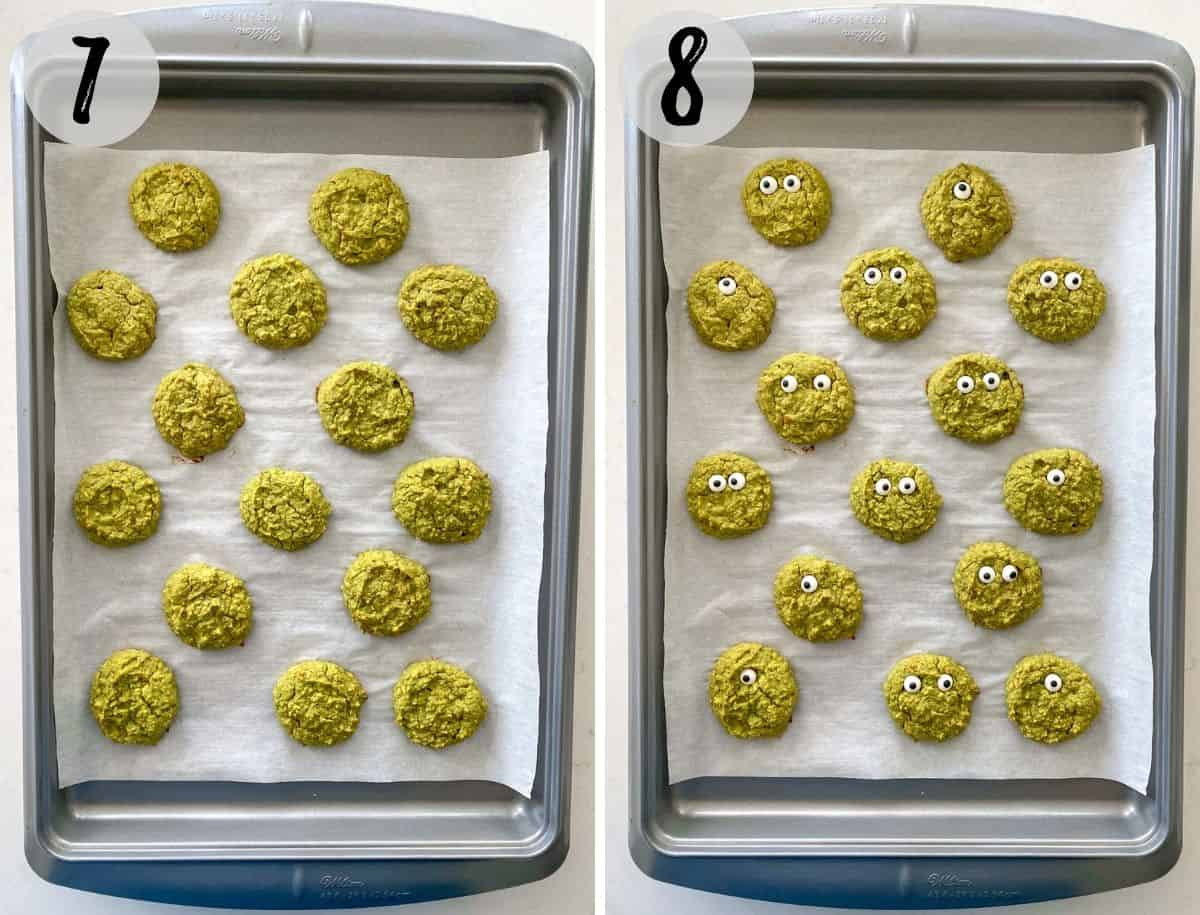 Green cookies on baking sheet, before and after baking.