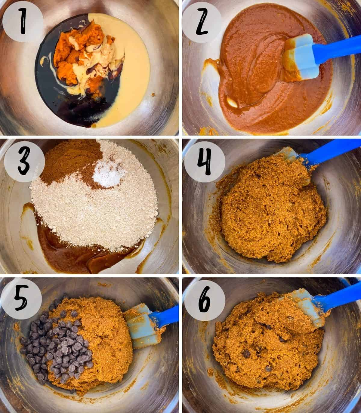 Step by step photos of large mixing bowl with wet and dry ingredients being mixed together.