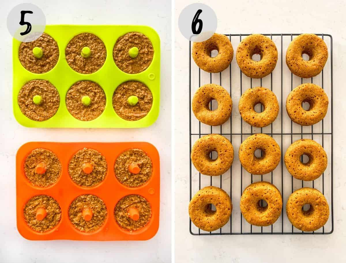 Donuts in silicone pan before baking and on cooling rack after baking.