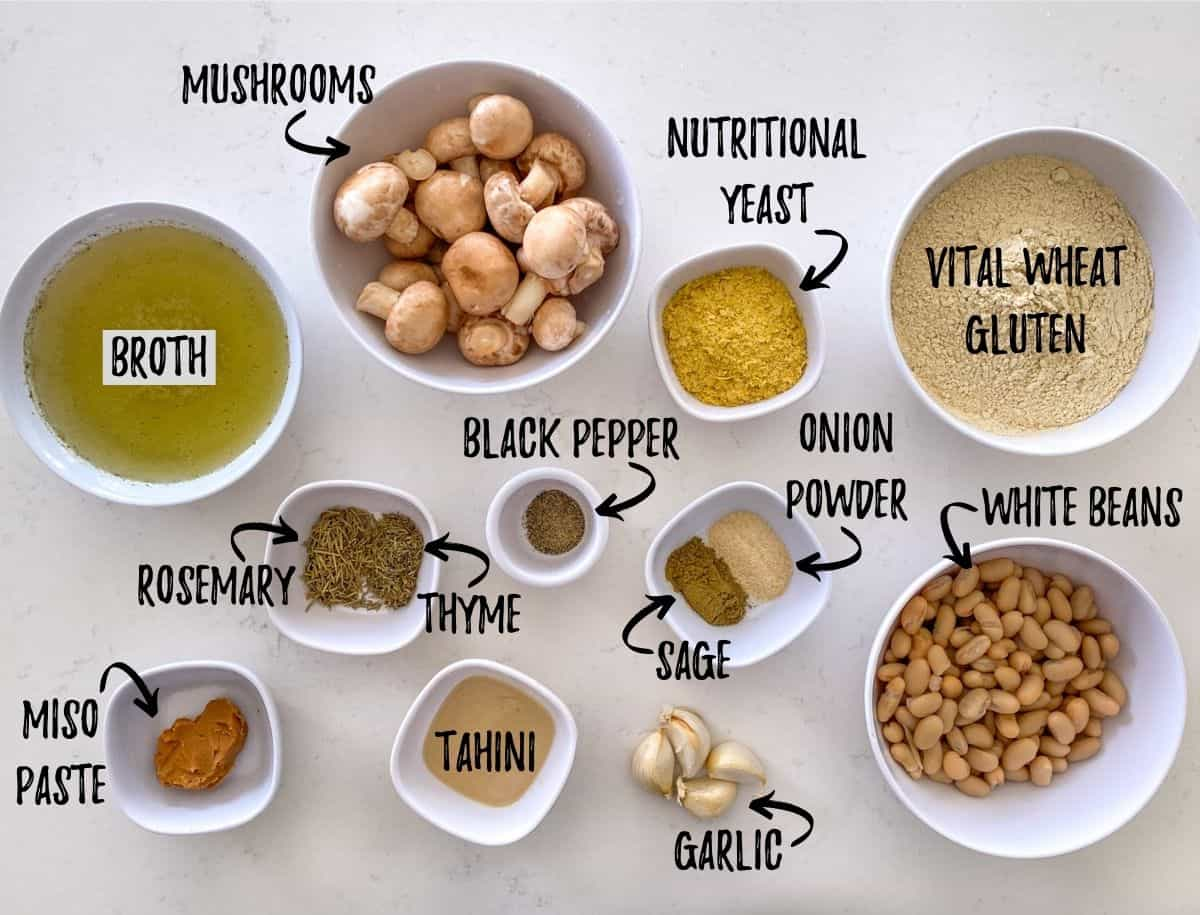 Ingredients needed to make vegan roast scattered on kitchen counter.